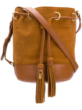 women bag bucket bag leather brown