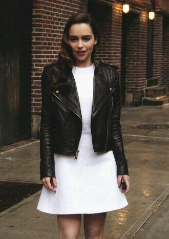 dress emilia clarke leather jacket white dress actress jacket