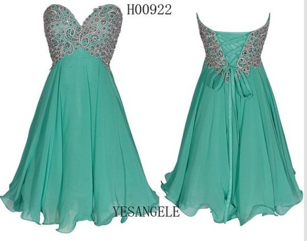 blue dress homecoming dress green dress