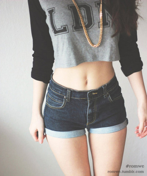 denim shirt black denim shorts necklace t shirt grey