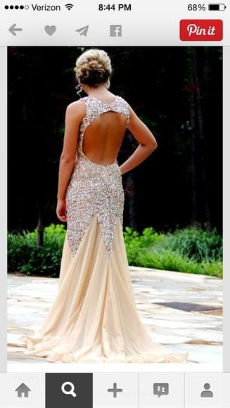 beige dress prom dress open back prom dress pretty dress