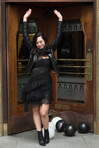 coco and vera blogger little black dress ruffle leather jacket