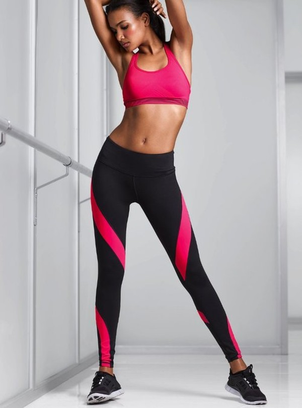 a201e1186e pants, black, pink stripes, workout leggings, sportswear - Wheretoget