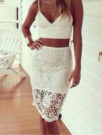 dentelle top skirt