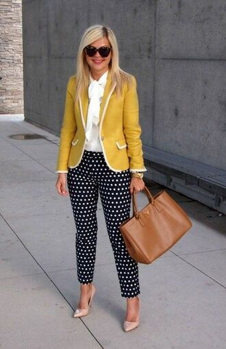 pants capri pants polka dots capri pants polka dots pumps nude pumps shirt white shirt bag brown bag blazer yellow blazer office outfits spring outfits sunglasses black sunglasses