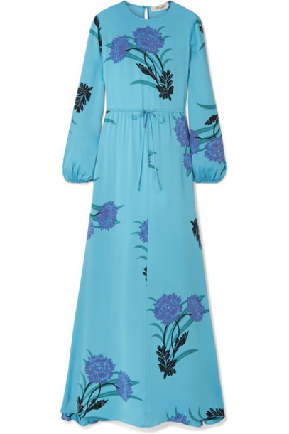 Diane Von Furstenberg dress maxi dress maxi light blue silk light blue