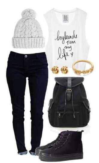 earrings pants jewels bag tank top beanie necklace hat