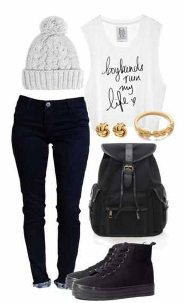tank top beanie necklace earrings jewels bag pants hat