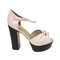 High fashion sandals - light pink wide heel sandals
