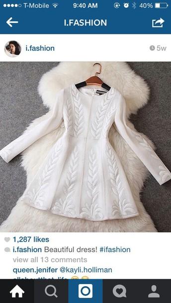 dress white white dress fashion fit and flare dress