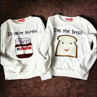 sweater white cute nutella bread couple sweet sexy nuttella white bff cute top jumper top blouse white blouse couple sweaters skirt nutella shirt bff sweaters food white nuttella and bread love clothes cool t-shirt shirt white sweater cute funny matchin lovely grey beautiful pajamas sweater nutella toast summer top white t-shirt sweaters cute print food yum fashion two-piece jumpsuit kawaii sweater pullover