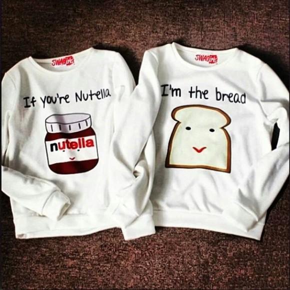 jumper nutella white sweater white cute bread couple sweet sexy nuttella bestfriends cute top bestfriend