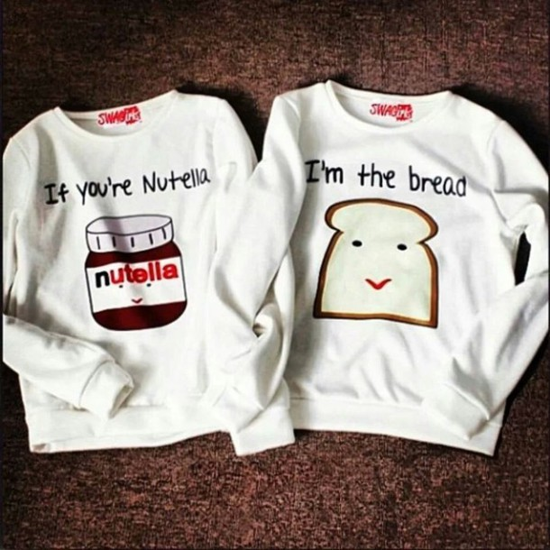 sweater white cute nutella bread couple sweet sexy nuttella white bff cute top bff jumper top blouse white blouse couple sweaters skirt couple sweaters food bff love bff bff clothes cool t-shirt shirt white sweater cute couple funny matchin lovely lovely grey beautiful blouse pajamas sweater nutella toast summer top white t-shirt sweaters cute print food yum fashion two-piece jumpsuit sweater kawaii sweater pullover