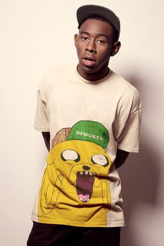 t-shirt ofwgkta tyler the creator odd future adventure time cartoon white t-shirt mens t-shirt