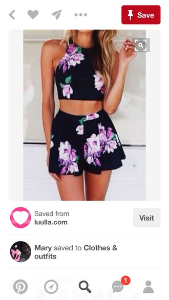 skirt funny black floral two-piece summer
