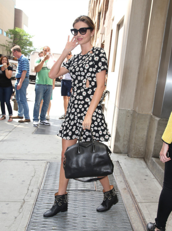 dress miranda kerr black white yellow flowers summer