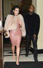 dress,faux leather,kim kardashian,nude,fur coat,sandals,latex,shoes