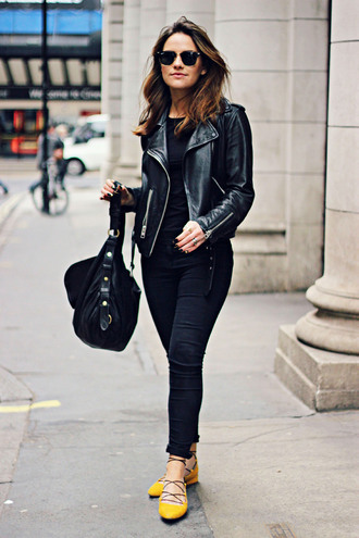 the little magpie blogger spring outfits perfecto leather jacket flats black bag jeans jacket sunglasses bag