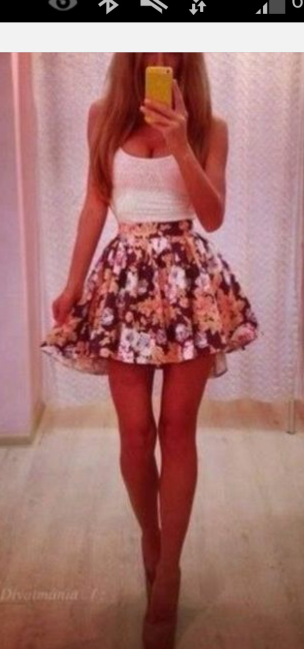 skirt summer skirt floral skirt skater skirt puffy skirt
