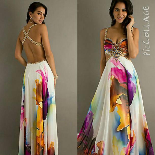 dress open back prom dress cross strap colorful dress jeweled dress