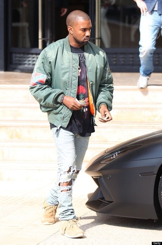 jacket kanye west menswear bomber jacket ripped jeans mens coat urban menswear