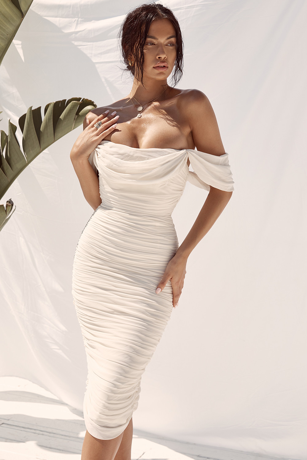 Clothing : Bodycon Dresses : 'Carlotta' Ivory Ruched Draped Chiffon Dress