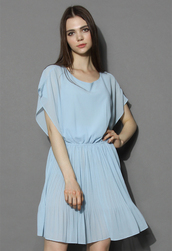 dress,chicwish,beauty pleats batwing dress in pastel blue,batwing dress,pastel dress,pleats batwing dress,chicwish.com