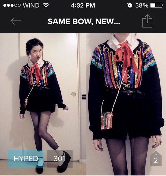 blouse sequins grunge colorful