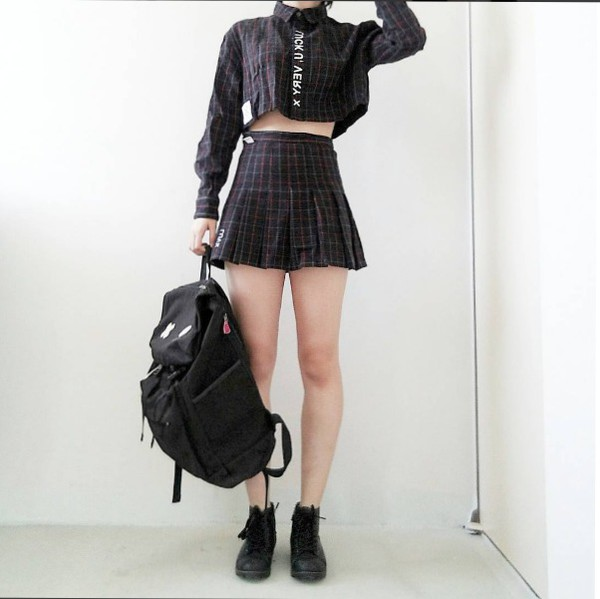 Blouse Kfashion Korean Fashion Korean Style Tennis Skirt Plaid Plaid Skirt Plaid Shirt