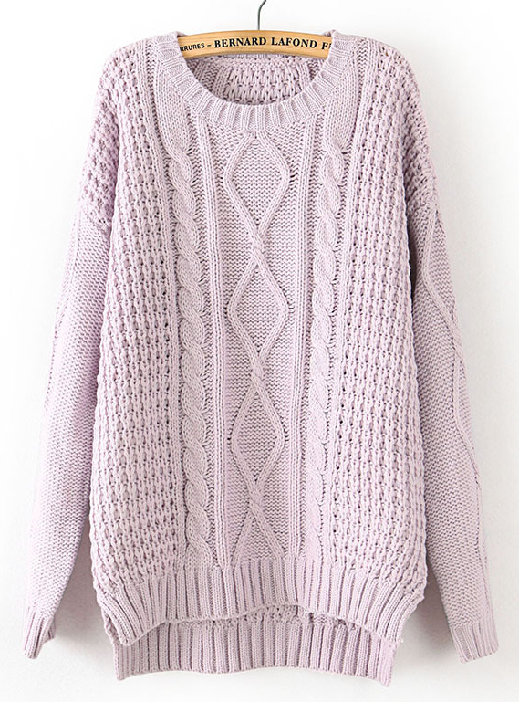 Light purple long sleeve cable knit dipped hem sweater