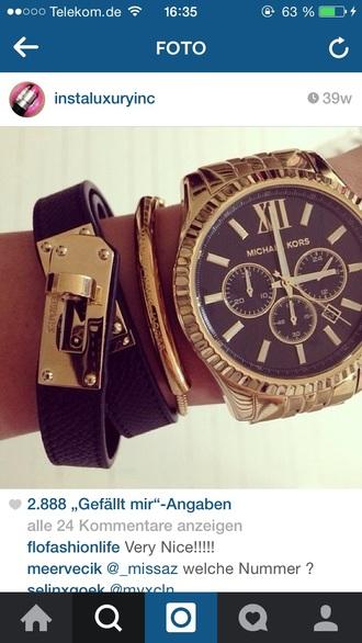 jewels michael kors black gold michael kors watch watch love nice