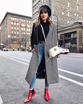 coat tumblr plaid coat grey coat patchwork boots red boots ankle boots denim jeans blue jeans belt bag white bag beret
