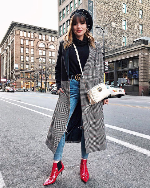coat tumblr plaid coat grey coat patchwork boots red boots ankle boots denim jeans blue jeans belt bag white bag beret