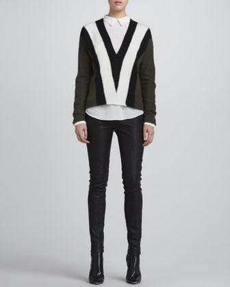 ALC Branch Tricolor Sweater, Sevy Semisheer Silk Blouse & Misa Leather Skinny Pants - Neiman Marcus