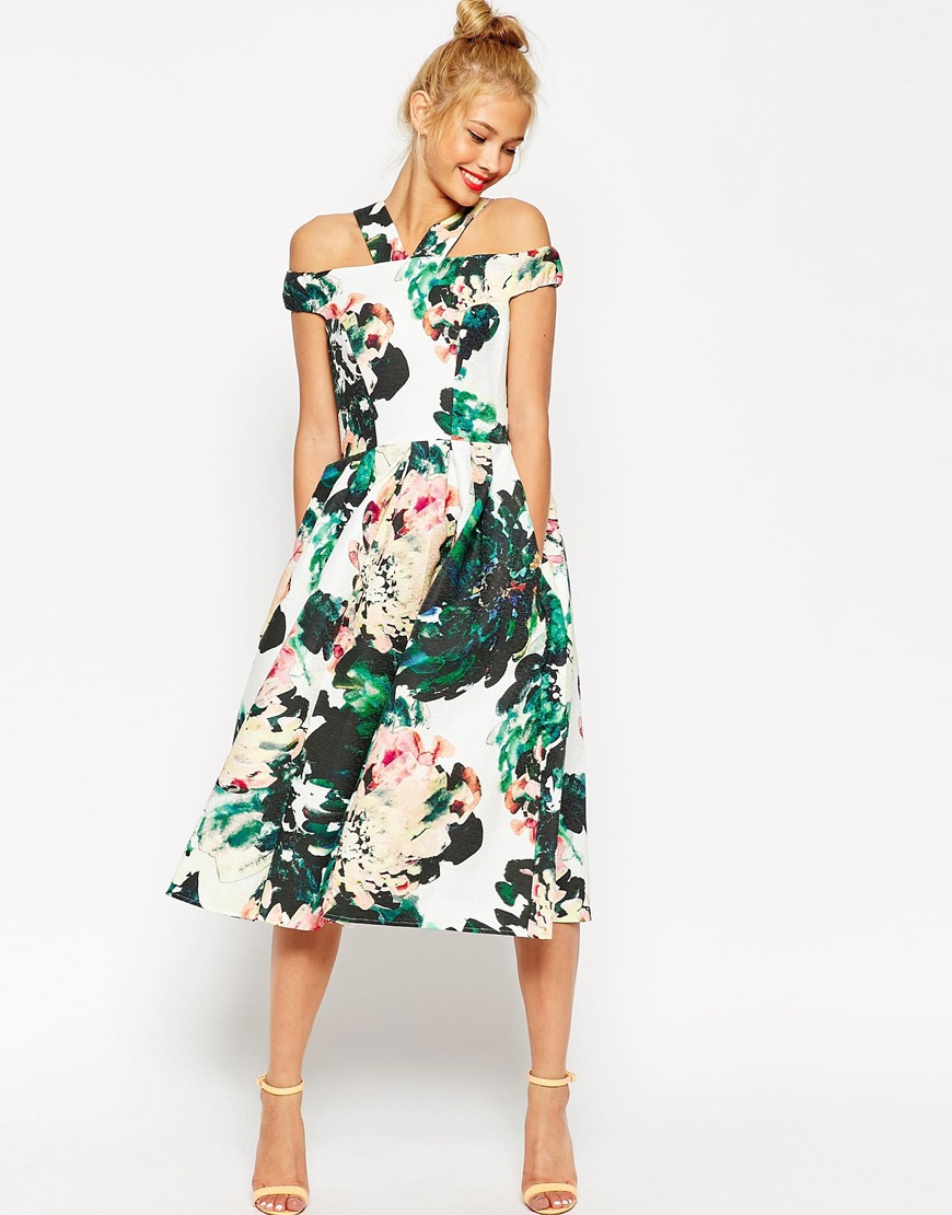 Floral Midi Cocktail Dress