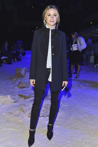 shirt olivia palermo coat blogger paris fashion week 2016 shoes pants