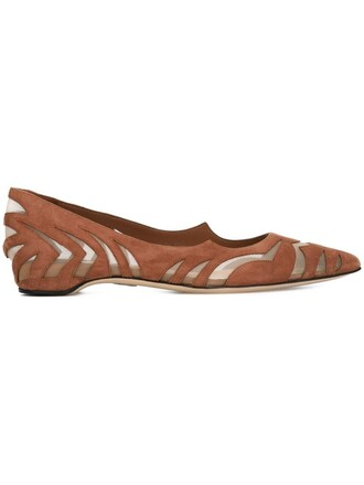 women laser cut leather suede brown shoes