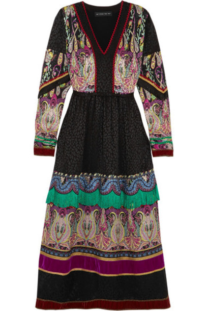 ETRO dress midi dress midi jacquard embellished black silk