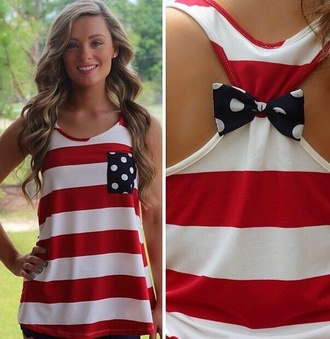 tank top american flag bow back shirt american flag tank top july 4th american flag with bow in back blouse red black stripes polka dots striped shirt bowknot sleeveless striped top stylish fashion shopping white style trendy rose wholesale-feb
