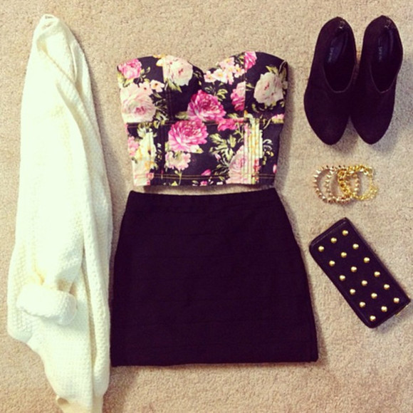 flowers shirt sweater studs gold skirt clothes high heels tank top shoes
