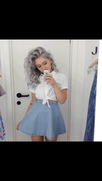blouse white crop tops blue skirt
