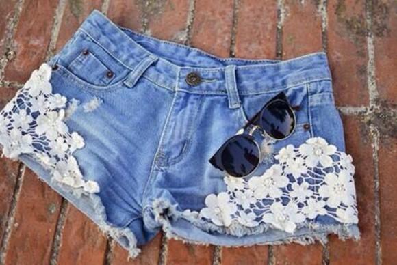 shorts floral shorts flowers jean shorts