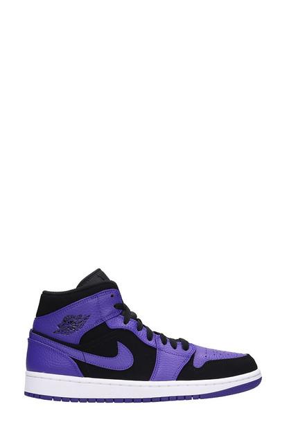 Nike Air Jordan 1 Mid Black-violet Leather Suede Sneakers