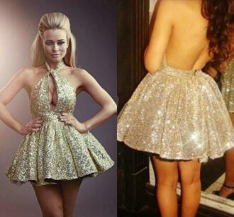 dress gold sparkle glitter open back mini dress halter top keyhole dress