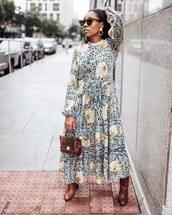 dress,maxi dress,floral dress,sunglasses,bag,boots