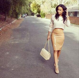 skirt nude skirt cropped sweater natural draya michele bag
