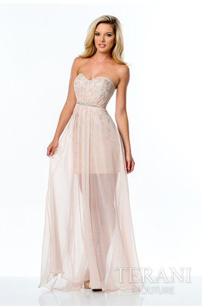 Dress: chiffon, chiffon dress, beige dress, pretty, prom dress ...
