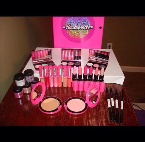 make-up hot pink lipstick heatherette mac cosmetics