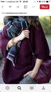 sweater,flannel scarf,knitwear,aubergine