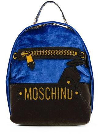 mini backpack blue velvet bag